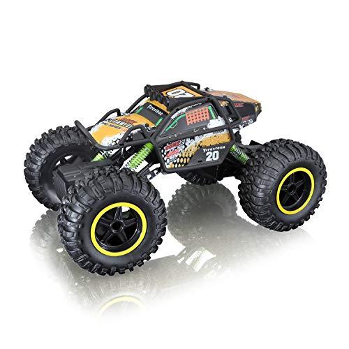 Maisto Tech R/C Rock Crawler Pro Series: Ferngesteuertes Auto in Monstertruck-Ausführung, mit Allradantrieb und Pistolengriff-Fernsteuerung, 38 cm, schwarz (581334)