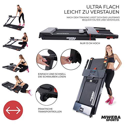 Miweba Sports elektrisches Laufband HT500 – Klappbar – 0,75 Ps – 14 Km/h – 12 Laufprogramme – Tablet Halterung – Große Lauffläche - 8
