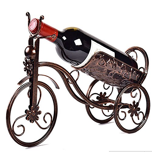 CdyBox Wrought Iron Wine HolderRack Bike Shape Tricycle Art Home Décor Bronze