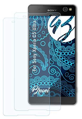 Bruni Schutzfolie kompatibel mit Sony Xperia C5 Ultra Folie, glasklare Bildschirmschutzfolie (2X)