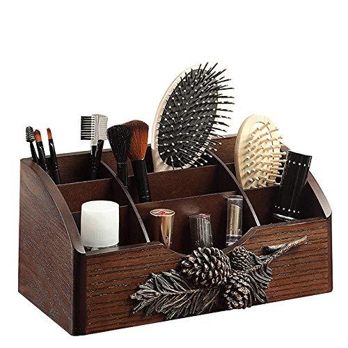 BJL Kosmetische Aufbewahrungsbox - Holz + Kiefernzapfenharz, kreative Persönlichkeit, Garten, Multi-Grid, feuchtigkeitsfest, Wohnzimmer-Schlafzimmer-Küche, Holzkosmetik, Hautpflegeprodukte, Aufbewahru