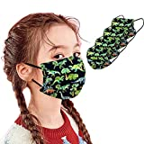 4PC Cartoon Washable Face Covering with Dinosaur Printed, Multicolors Reusable Facial Bandana for Kids Suitable for School, Sports & Outdoors