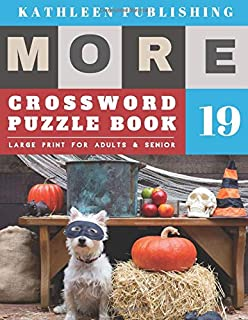 Crosswords Large Print: crosswords for the elderly | More Full Page Crosswords to Challenge Your Brain (Find a Word for Adults & Seniors) | halloween pumpkin design (crossword books quick)