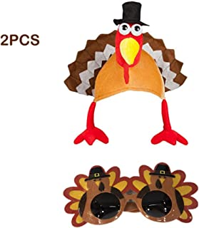 2-Piece Set Novelty Christmas Turkey Hat Turkey Costume Gobbler Funny Glasses Santa Claus Fancy Dress Party Festival Costume Funny Hat Thanksgiving Party Turkey Party One Size Hearty Dinner/YEL