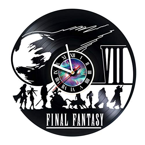 Wall Clock Compatible with Final Fantasy 7 PC Games Vinyl Record Wall Clock - Decorate Your Home with Modern Famous Final Fantasy Movie - Fantasy Art Design Incredible Art