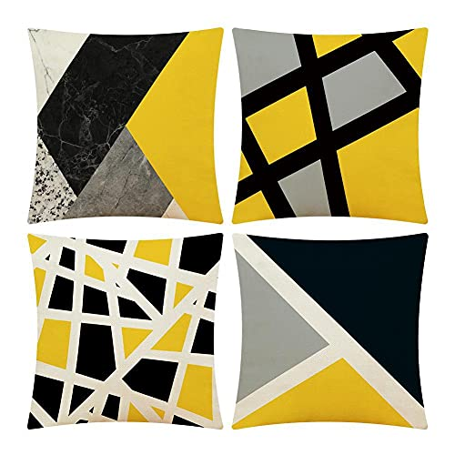 CloudWhisper 4pcs Cushion Covers, 18x18 Inch Throw Pillow Cases 45x45 cm Set of 4 Cotton Linen Decorative Geometric Square Creative Sofa Pillowcases Home Decor Cushion Covers for Living Room Garden
