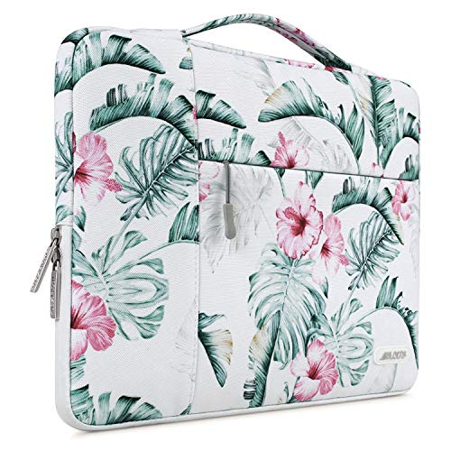 MOSISO Laptop Briefcase Compatible with 13-13.3 Inch Laptop, Notebook, MacBook Air/Pro, Polyester Multifunctional Sleeve Handbag Carrying Case Bag, Banana Leaf