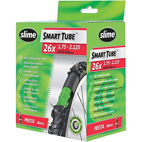 Slime 30060 Cámara Interior de Bicicleta con Sellante de Pinchazos Slime, Sellado Autónomo, Prevenir y Reparar, Válvula Presta, 47/57 - 559mm (26