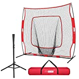 VIVOHOME 7 x 7 Feet Baseball Backstop Softball Practice Net with Strike Zone Target Tee and Carry Bag for...
