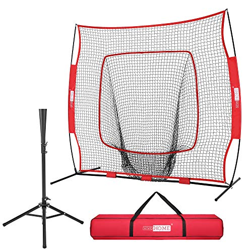 VIVOHOME 7 x 7 Feet Baseball Backstop Softball Practice Net with Strike Zone Target Tee and Carry Bag for Batting Hitting and Pitching Red