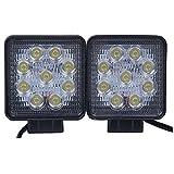 LARS360 2x 27W Quadrato LED Faro da lavoro, Fari per fuoristrada Faro anteriore,IP67 Impermeabile 12V 24V Luce retromarcia, Trattore per auto SUV ATV UTV