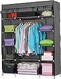 Armario portátil de tela de lona 67organizador de almacenamiento de ropa con 3 rieles para colgar y 12 estantes 133 * 46 * 170 cm