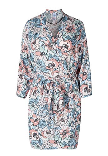 Skiny Damen Nostalgic Summer Sleep Kimono mit Blüten-Print Mauve Flower 36/38