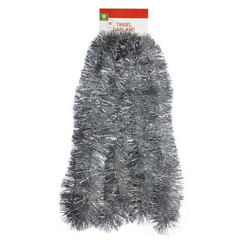 15ft Soft & Silky Christmas Garland Silver - Wondershop™