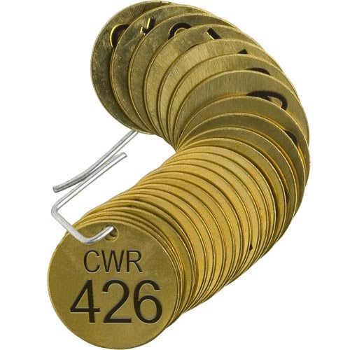 Brady 87117 We OFFer at cheap prices Max 75% OFF Stamped Brass Valve Tag of pcs 25 Packs 4