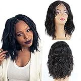 ZanaWigs - Peluca natural de pelo corto (estilo brasileño, corte ondulado, cabello moreno)