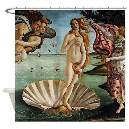 ZLWSSA 3D Wasserdichter Duschvorhang Botticelli Birth of Venus Dekorationsstoff 180x200cm