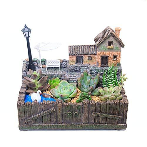Nains de jardin, Conteneur de bricolage féerique décoratif solaire plantes ornement de jardin décoratif plantes Jardin Décoration d'extérieur ( Couleur : Tree House B , Taille : 18.5cm*12cm*16cm )