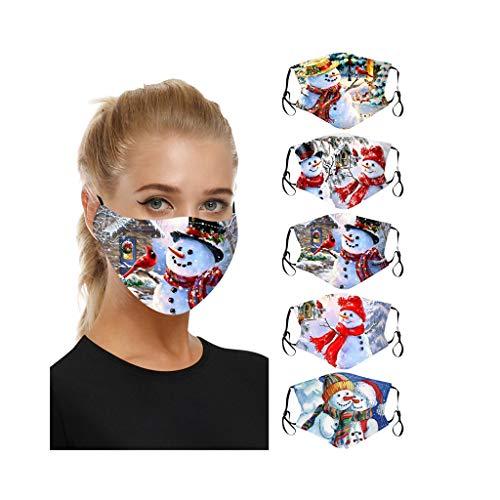 Blingko 5pcs Waschbar Mundschutz Lustiger Tiergedruckter Atmungsaktiver Wiederverwendbarer Multifunktionstuch Motorrad Winddicht Reusable Face Cover Sommerschal (X)