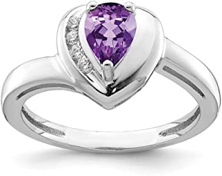 925 Sterling Silver Purple Amethyst White Topaz Heart Band Ring S/love Fine Jewelry For Women Gift Set