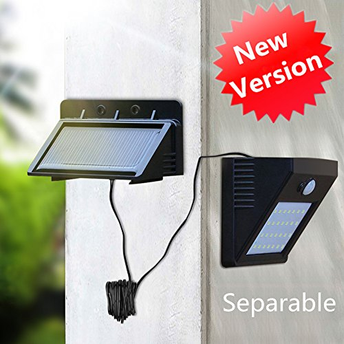 iropro Solar Power teilbar 28LED PIR Motion Sensor Sicherheit Wandleuchte für Innen Outdoor Lager Zimmer Zaun Terrasse Yard Weg Auffahrt Treppen im Innen-Lampe 3Modi 700lm 8.2Füße Kabel