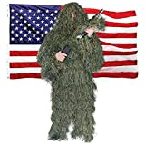 Shadow Cloak Ultimate Ghillie Suit - Woodland Camo + USA Bonus Flag - Triple Stitched Camouflage Clothes for Men, & Youth. Best Gear for Hunting, Military, Airsoft, Paintball, Sniper Suits & Costume.