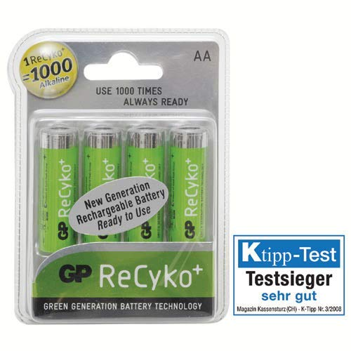 GP Battery Piles X 4 RECYKO+ 1.2 V 1000 MAH LR06 NI pour TV Audio TELEPHONIE 9373959