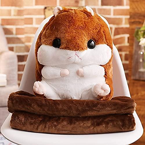 XINQ 40 cm Nette Hamster Plüschtiere Gefüllte Tiere Hamster mit Decke 3 in 1 Winter Handwärmer Maus Puppen Für Kinder Mädchen Geschenk Toy mitHandwarmer Grau (Color : Green, Size : Onlytoy)