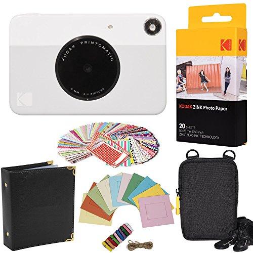 Image of the Kodak Printomatic Instant Camera (Grey) Gift Bundle + Zink Paper (20 Sheets) + Case + 100 Sticker Border Frames + Hanging Frames + Album