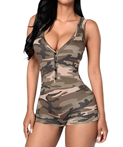 Shawhuwa Womens Sexy V Neck Sleeveless Camouflage Romper Bodysuit L Camo