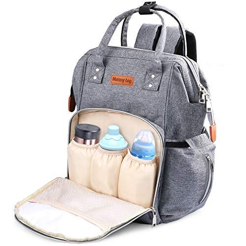 Multifunktionale Baby Wickeltasche, Weeygo Wasserdicht Große Kapazität Babytasche Rucksack Tragbar Handtasche Organizer mit Kinderwagen Clips für Reisen, Grau