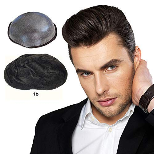 Soft Thin Skin Mens Toupee Human Hair Pieces with (0.04mm) V-loop knot Wigs for Men 8×10 inches Cap Replacement System Off Black Color (#1B) by LLwear