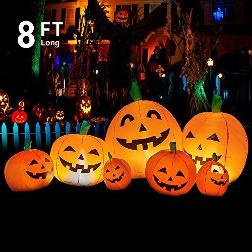 YIHONG 8 Ft Long Halloween Inflatables Pumpkin Decoration, Outdoor Halloween Inflatables Party Decor...