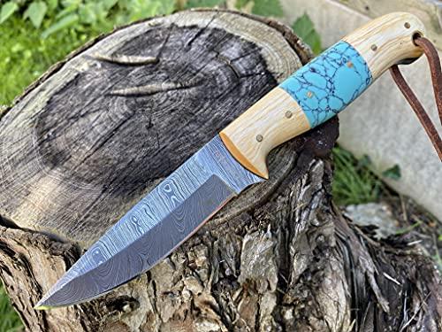 Cuchillo de caza Perkin cuchillo de damasco de hoja fija cuchillo de caza cuchillo de caza con vaina T100