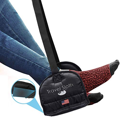Airplane Footrest - Premium Airplane Travel Accessories That Eliminate Swell Sore & Back Pain Relief Foot Rest Hammock That Provide Relaxation During Long Flights Medical Memory Foam & Stable Base