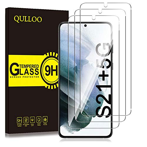QULLOO Panzerglas kompatibel mit Samsung Galaxy S21+ 5G, [3 Stück] 9H Hartglas Schutzfolie HD Displayschutzfolie Anti-Kratzen Panzerglasfolie Handy Glas Folie für Samsung Galaxy S21 Plus