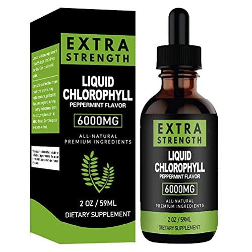Gotas de Clorofila Líquida 59ml Clorofila Líquida Potenciador de Energía, Concentrado Natural, Refuerzos para el Sistema Digestivo el Sistema Inmunológico, Desodorante Interno Suplementos de Clorofila