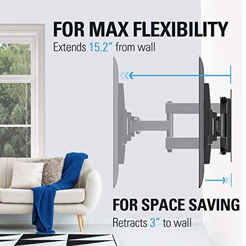 Montaje sueño md2380TV Soporte de pared para la mayoría 26–55inch LED, OLED, LCD y Plasma TV de pantalla plana, con giratorio de movimiento completo articulado doble armas, hasta Vesa 400x 400mm y 99libras con inclinación