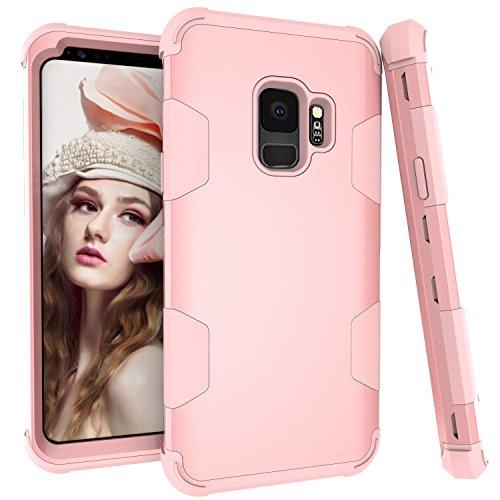 Galaxy S9Case, Daker DREI Schicht Full Body Heavy Duty [PC + TPU + PC] Hybrid Stabile Cover Antishock High Impact Drop Beständig Schutzhülle für Samsung Galaxy S914,7cm 2018, Rose Gold