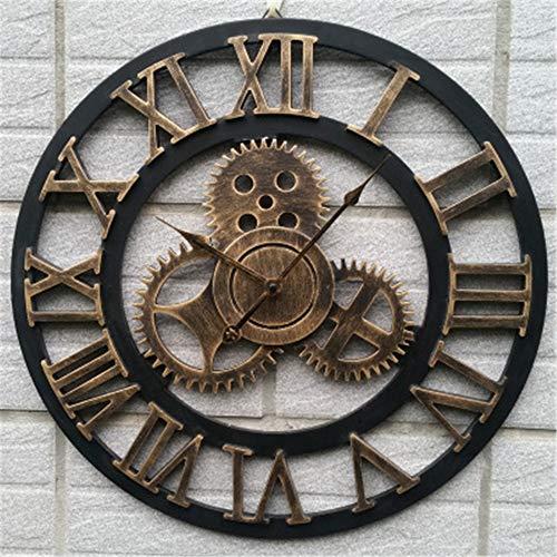 MYYXGS - Reloj de Pared de Metal (tamaño Grande, Estilo Antiguo, Estilo Retro, para casa, Hotel, Bar, Oficina, decoración de Regalo, números Romanos), 100, 40 * 40cm