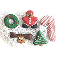 Christmas Holiday Dog Treats with Gift Bag Gourmet Cookie Biscuits,Homemade with Yogurt Icing (5 Premium Treats)