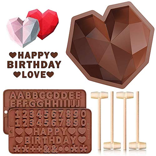 Diamond Heart Shaped Mousse Cake Mold Trays, 8.7 inch Silicone Dessert Baking Pan Safe Not Sticky...