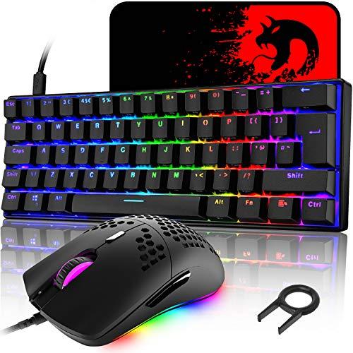 UK Layout 60% mechanische Gaming-Tastatur, blauer Schalter, Mini-68 Tasten, kabelgebunden, Typ C, RGB Hintergrundbeleuchtungseffekte + leichte optische RGB-Maus mit 6400 dpi + großes Mauspad - Schwarz