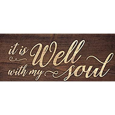 It Is Well With My Soul Script Design 3 x 6 Inch Solid Pine Wood Farmhouse Stick Sign