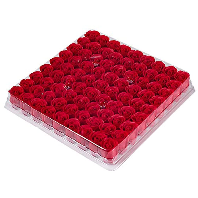 寛大なご飯それに応じてCUHAWUDBA 81個の薔薇、バス ボディ フラワー?フローラルの石けん 香りのよいローズフラワー エッセンシャルオイル フローラルのお客様への石鹸 ウェディング、パーティー、バレンタインデーの贈り物、赤色
