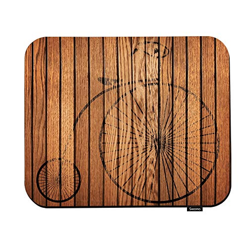 Swono Wood Mouse Pads Retro Bike On Brown Wood Background Mouse Pad for Laptop Funny Non-Slip Gaming Mouse Pad for Office Home Travel Mouse Mat 7.9'X9.5'