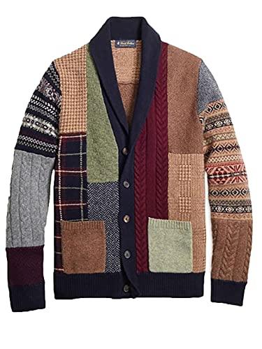 Otoño Hombre suéter Cardigan Cuadro de un Solo Pecho botón de Punto Abrigo de Punto Brown L