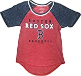 Outerstuff Boston Red Sox Baseball Girl's Scoop Neck Distressed T-Shirt X-Large 14/16