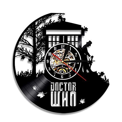 YUN Clock Doctor Who Wanduhr aus Vinyl Schallplattenuhr Upcycling Design-Uhr Wand-Deko Vintage Familien Zimmer Dekoration Kunst Geschenk, Durchmesser 30 cm