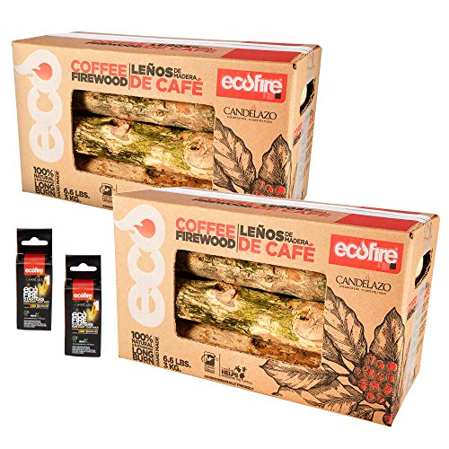EcoFire 100% Natural Coffee Lump Fire Wood, 13.2 lbs, Free Fire Starters, BBQ, Camping, Smoker, Fireplace, Indoor/Outdoor, White, Large, LCAFE2